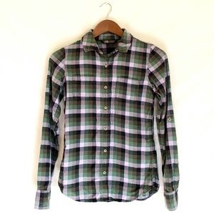 The North Face Green & Purple Plaid Button Down